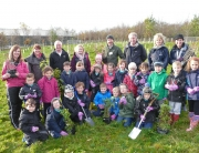 Planting trees with Stainton School pupils