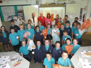 lakes Free Range Egg Co and Sainsbury's with Stainton primary pupils at Ullswater Community College